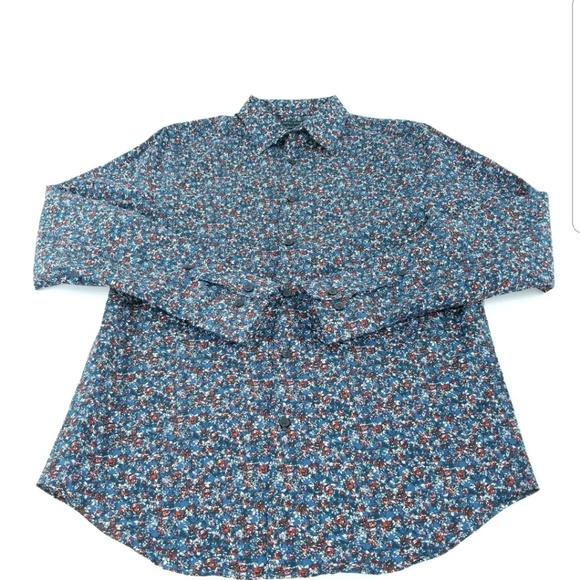3f6bd9433d NWT Perry Ellis Blue Red Roses non iron shirt Sz L